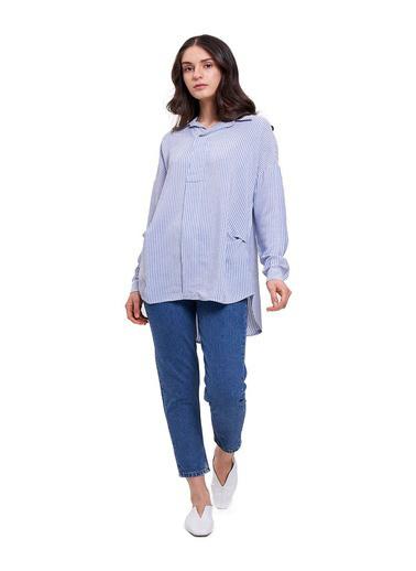 Mizalle Mızalle Çizgili Yakalı Gömlek Bluz  Mavi